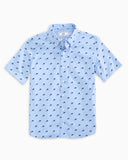 Southern Tide Boy's Dolphin Print Intercoastal Short Sleeve Button Down Shirt - Sky Blue