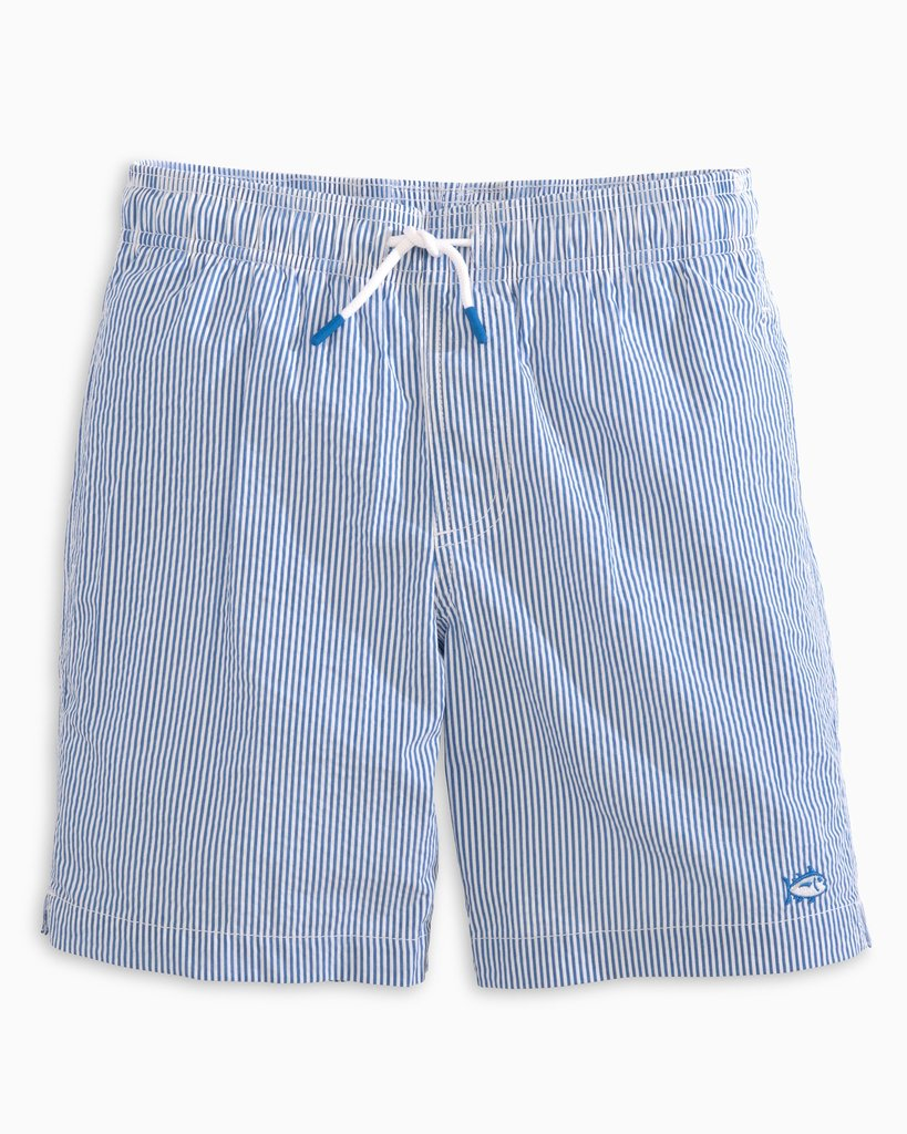 Southern Tide Boy's Seersucker Swim Trunks - Legacy Blue