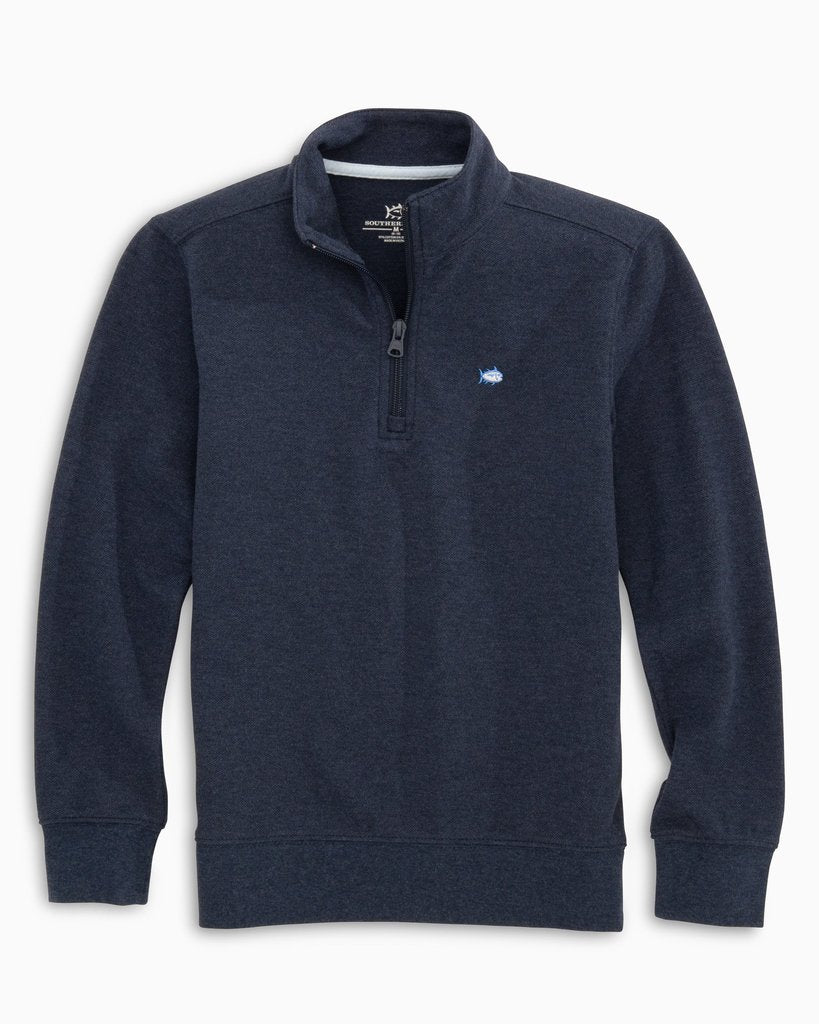 Southern Tide Boy's Skipjack Quarter Zip Pullover - Heather True Navy