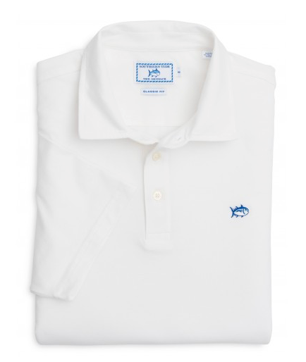 Southern Tide Channel Marker Polo in Classic White front view