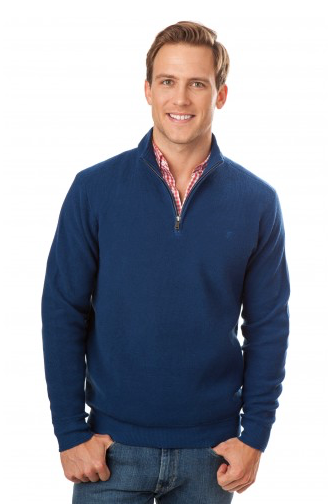 Southern Tide Channel Marker Pique 1/4 Zip Pullover - Yacht Blue
