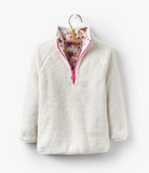Joules Girls Cosette Reversible Fleece Sweatshirt - Cream Ditsy