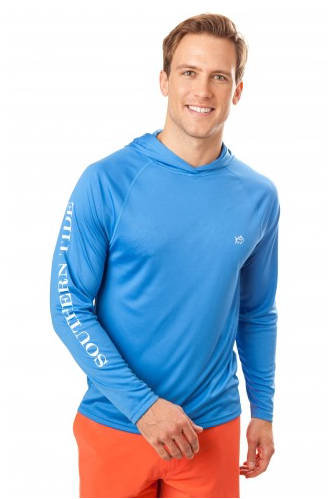 Southern Tide Crest to Cap Performance Hoodie T-Shirt - Blue Stream