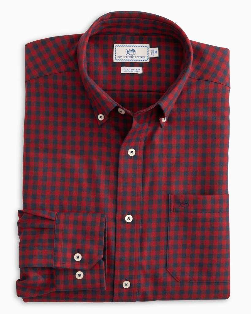 Southern Tide Donner Gingham Performance Button Down Shirt - Chili Pepper