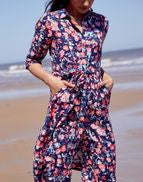 Joules Winslet Long Sleeve Button Front Shirt Dress - Navy Floral