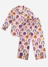 Printfresh Royal Palms Long Sleep Set - Amethyst