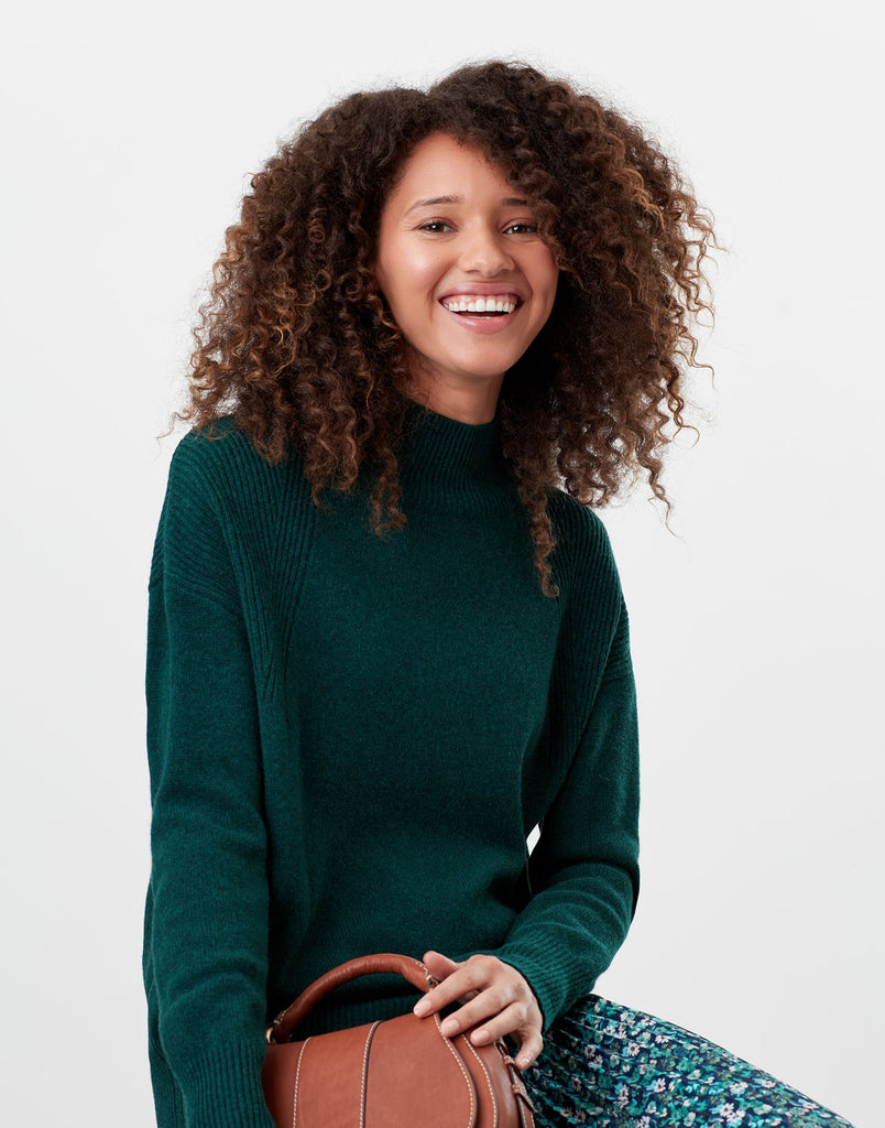 Joules Halton Knitted Turtle Neck Sweater - Dark Green