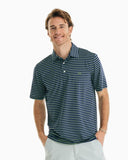 Southern Tide Driver Striped Performance Polo - Blue Night
