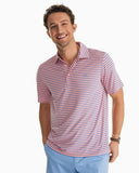Southern Tide Driver Striped Performance Polo - Fresco Pink