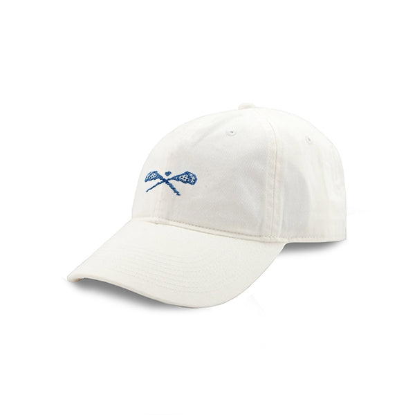 Smathers & Branson Crossed Lax Sticks Needlepoint Hat - White