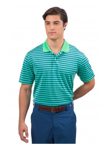 Southern Tide Fairway Stripe Performance Polo - Jasmine Green