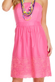 Vineyard Vines Fish Eyelet Strapless Dress - Pink