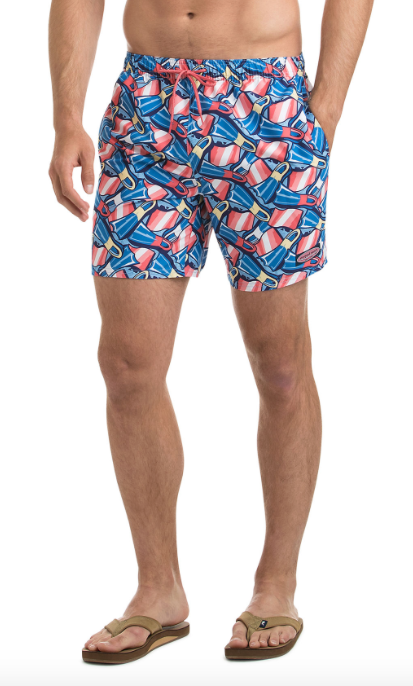 Vineyard Vines Flippers Print Chappy Trunks - Dockside Blue
