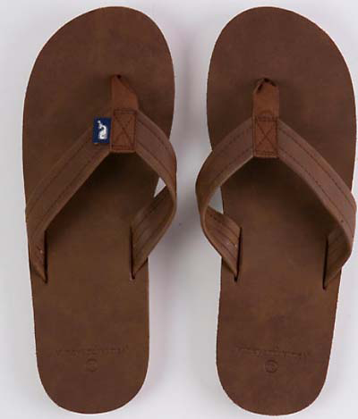 Vineyard Vines Leather Flip Flops - Mudslide