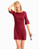 Southern Tide Gameday Micro Stripe Performance Dress - Chianti