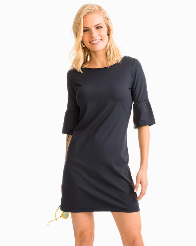 Southern Tide Gameday Micro Stripe Performance Dress - Midnight Black