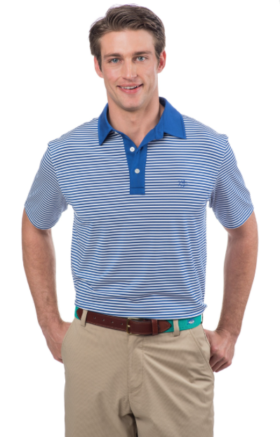 Southern Tide Game Set Match Stripe Performance Polo - Classic White