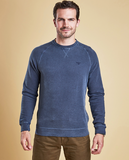 Barbour Garment Dyed Crew Neck in Navy on model