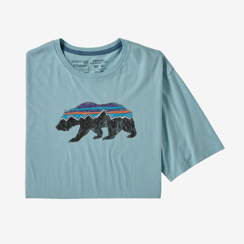 Patagonia Men's Fitz Roy Bear Organic Cotton T-Shirt - Big Sky Blue