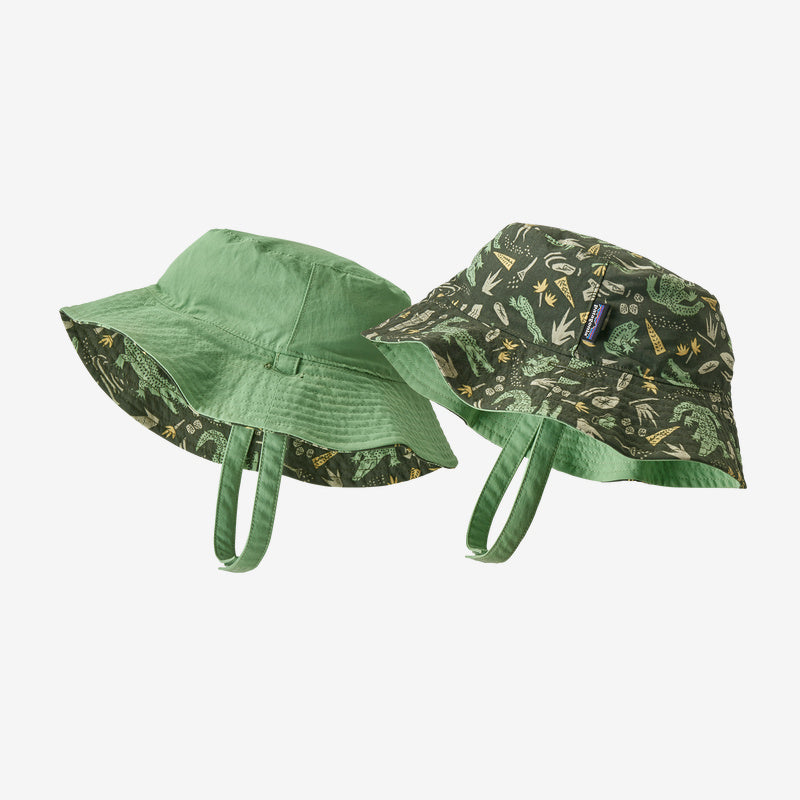Patagonia Baby Sun Bucket Hat - Alligators and Bullfrogs: Kale Green