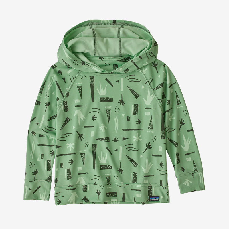 Patagonia Baby Capilene® Cool Daily Sun Hoody - Swamp Stamp Multi Big: Thistle Green