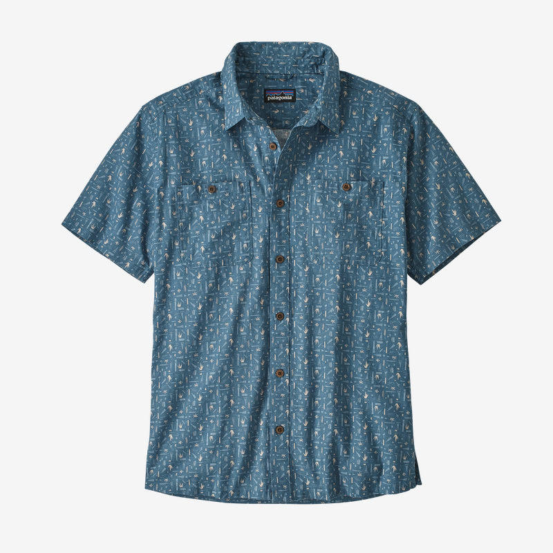 Patagonia Men's Back Step Shirt - Swamp Stamp Multi: Pigeon Blue