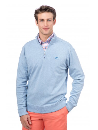 Southern Tide Heathered Skipjack 1/4 Zip Pullover in Sky Blue on model