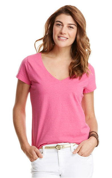 Vineyard Vines Heathered V-Neck Tee - Rhododendron
