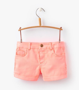 Joules Girls Pond Denim Shorts - Neon Coral