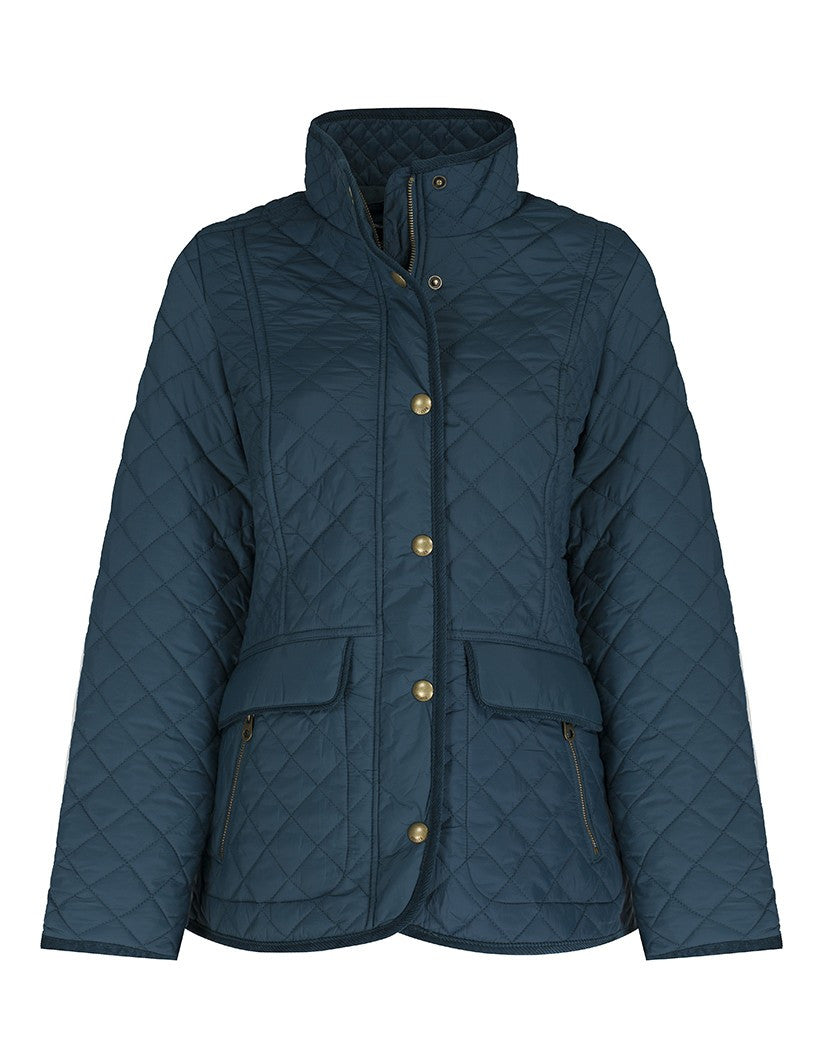 Front View Joules Newdale Quilted Jacket in Dark Green