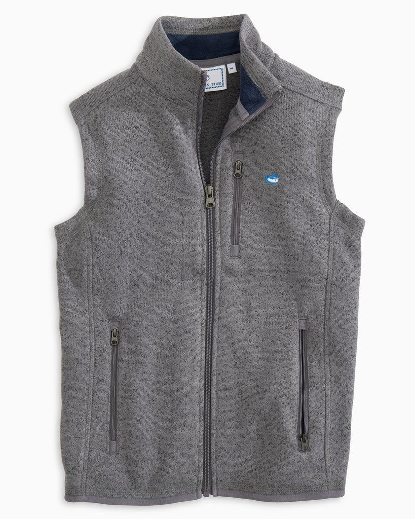 Southern Tide Boy's Samson Peak Sweater Fleece Vest - Heather Gunmetal