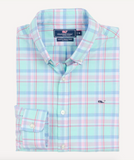 Vineyard Vines Long Bay Plaid Slim Fit Whale Shirt - Aquamarine