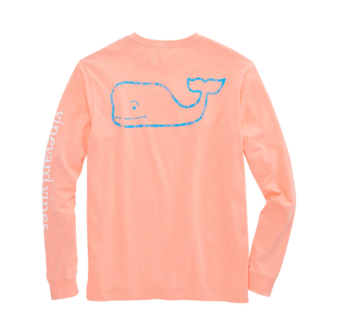 Vineyard Vines Men's Long-Sleeve Two Tone Vintage Whale Pocket T-Shirt - Toucan