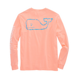 Back view Vineyard Vines Men's Long-Sleeve Two Tone Vintage Whale Pocket T-Shirt in Toucan