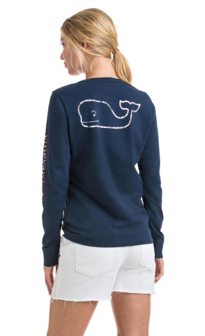 Vineyard Vines Long-Sleeve 3 Color Vintage Pocket Tee - Blue Blazer