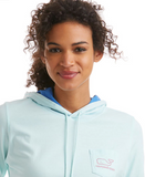 Vineyard Vines Long-Sleeve Contrast Hoodie Whale Tee - Crystal Blue