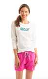 Vineyard Vines Long-Sleeve Lacrosse Sticks Whale Fill Tee - White Cap