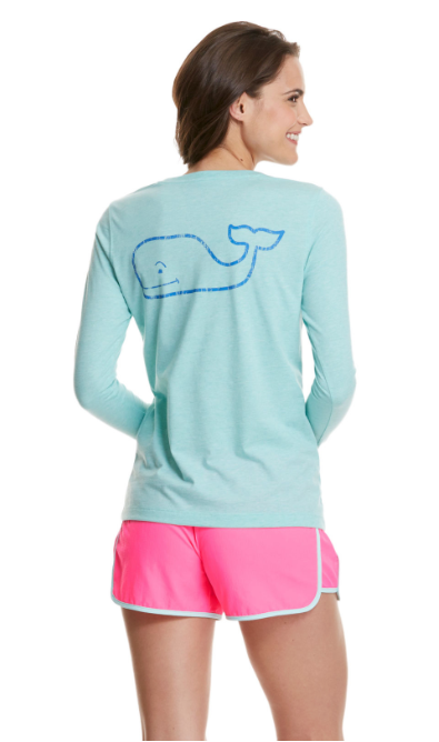 Vineyard Vines Long Sleeve Heather Vintage Whale Pocket Tee - Crystal Blue