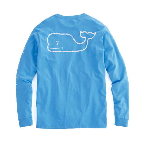 Vintage Vines Long-Sleeve Vintage Whale Graphic Pocket T-Shirt - Keel Blue