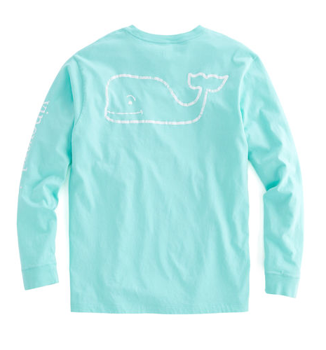Vintage Vines Men's Long-Sleeve Vintage Whale Graphic Pocket T-Shirt - Marina