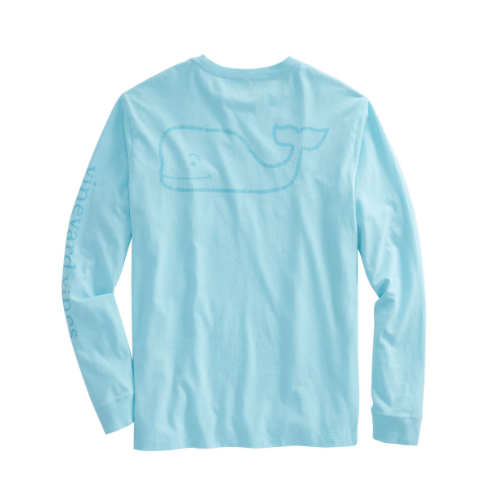 Vineyard Vines Men's Long-Sleeve Vintage Whale Graphic Pocket T-Shirt - Pool Side