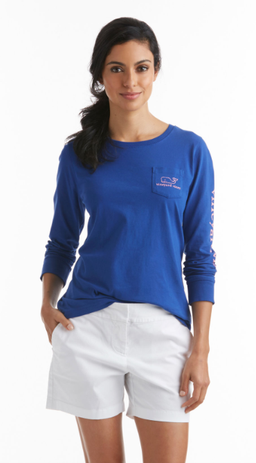 Vineyard Vines Long-Sleeve Vintage Whale Pocket Tee - Royal Ocean