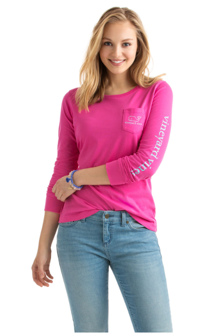 Vineyard Vines Long-Sleeve Vintage Whale Pocket Tee - Bright Pink
