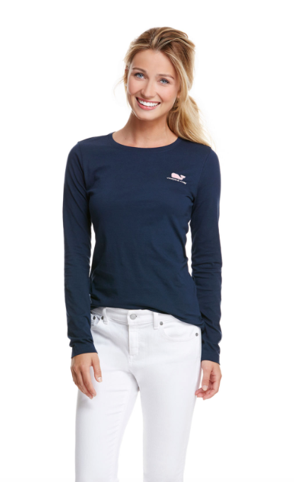 Vineyard Vines Long-Sleeve VV Logo Tee - Vineyard Navy