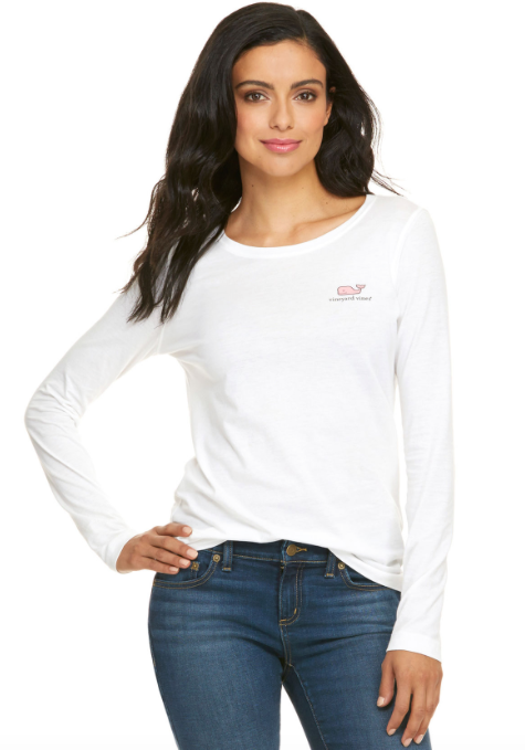 Vineyard Vines Long-Sleeve VV Logo Tee - White Cap