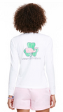 Vineyard Vines Long-Sleeve Shamrock Whale Pocket Tee - White Cap