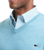 Closeup of Vineyard Vines Performance Merino V-Neck in Turqs