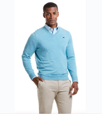 Full View Vineyard Vines Performance Merino V-Neck in Turqs