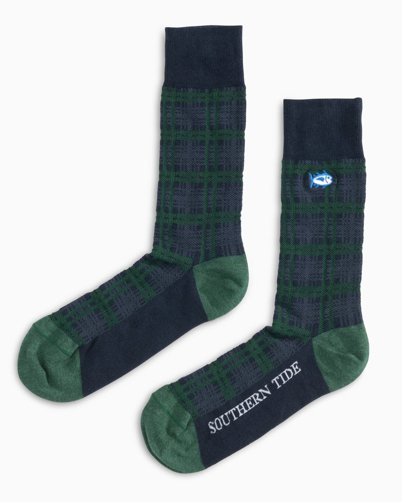 Southern Tide Men's Mistletoe Plaid Socks - Pineneedle