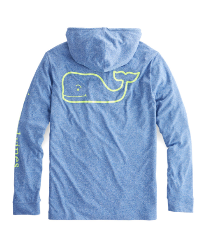 Vineyard Vines Men's Long-Sleeve Performance Heather Whale Hoody T-Shirt - Royal Ocean
